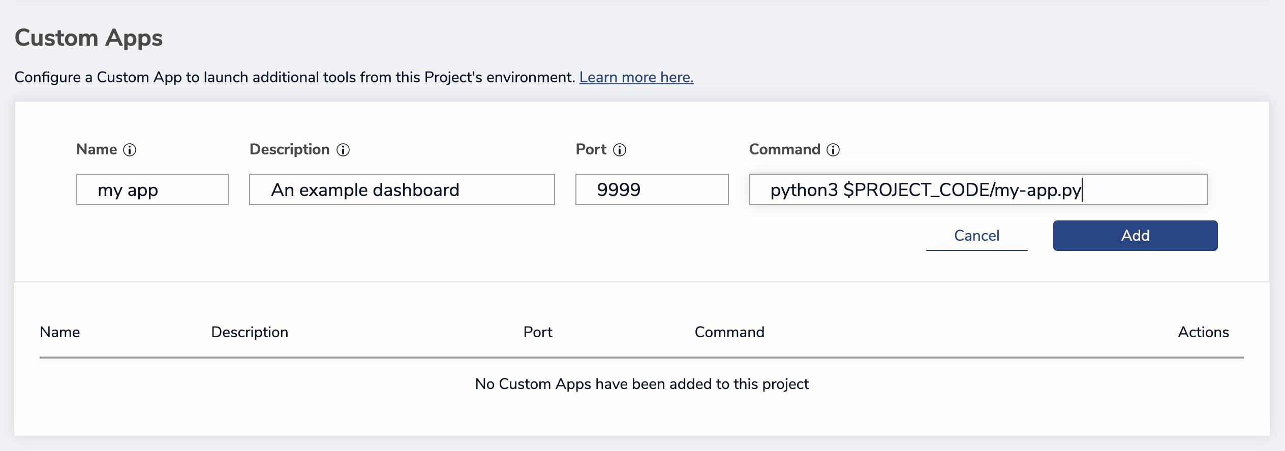 Adding a new App via the Custom App widget