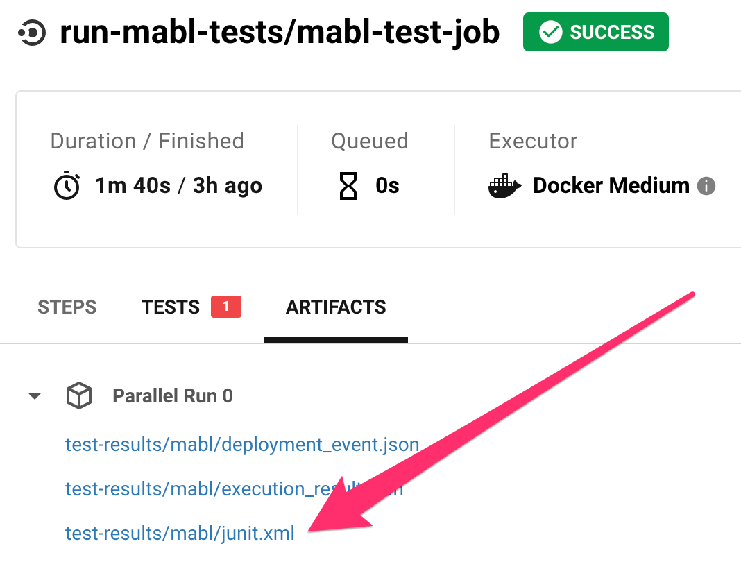 JUnit test results file is available in the Artifacts tab