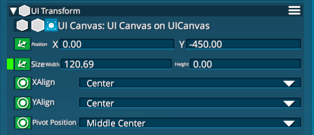Can set the alignment in the 'UI Transform' component