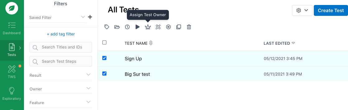 Assigning a test owner to multiple tests.