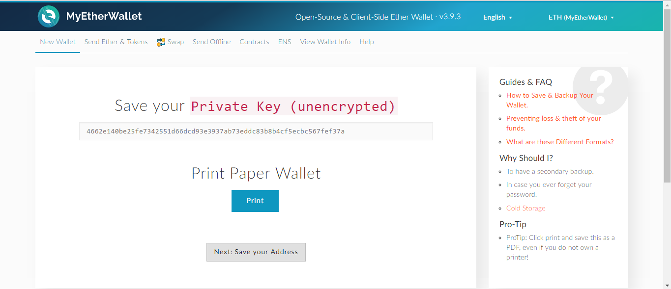 *Figure 3.10. Save the private key and print the Paper wallet for maximum security.*