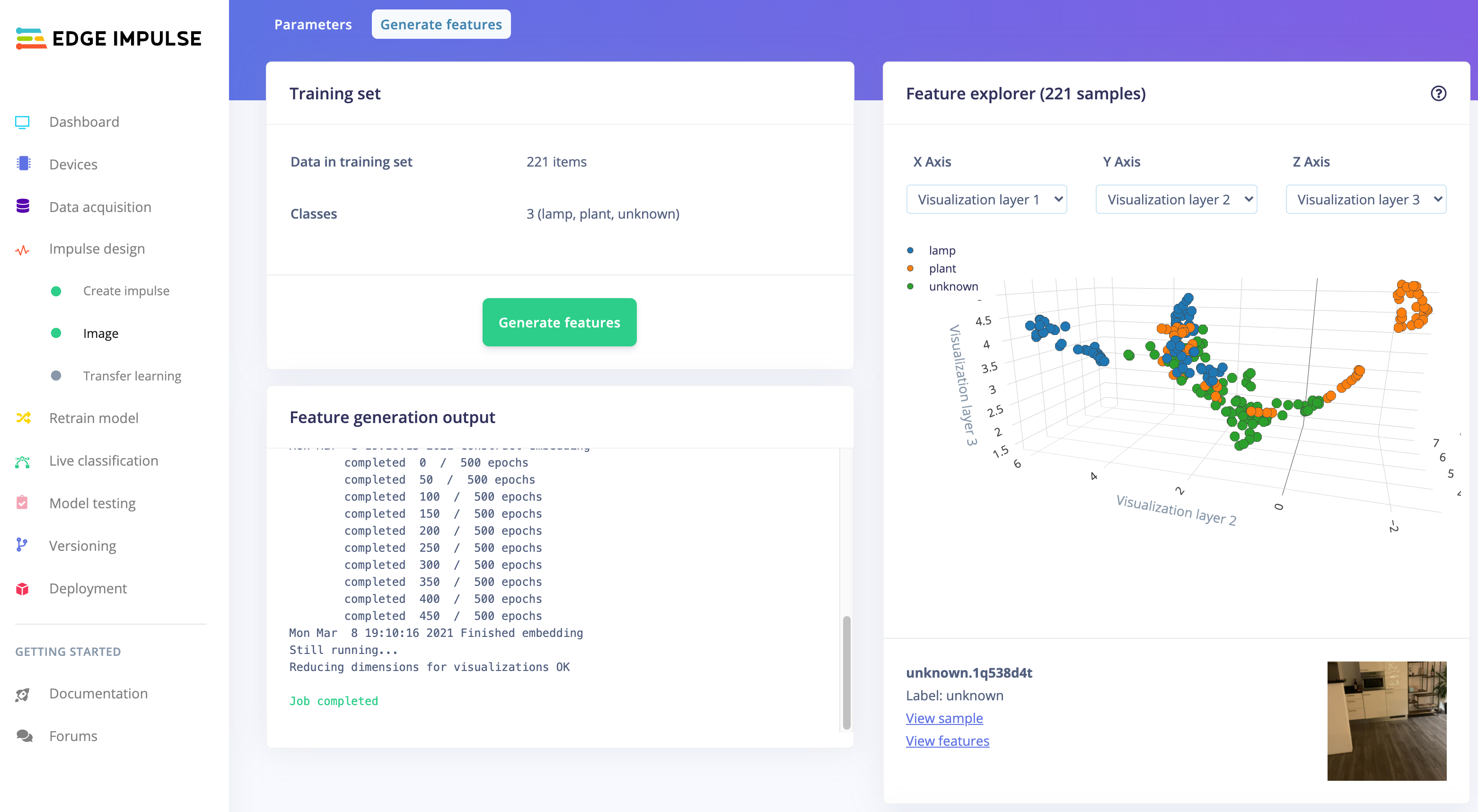 The feature explorer visualizing the data in the dataset. Clusters that separate well in the feature explorer will be easier to learn for the machine learning model.