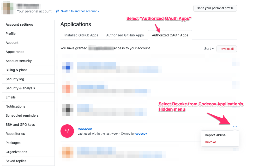 The Authorized OAuth Apps Applications List.