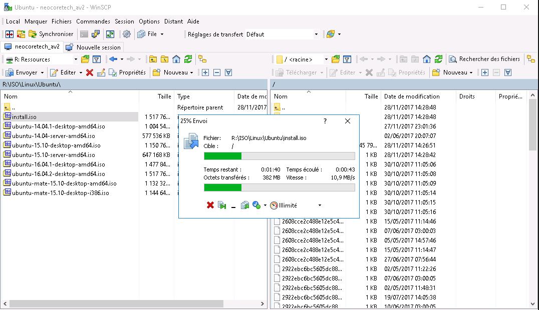 Exemple de la fenêtre de connexion WSO depuis le logiciel WinSCP