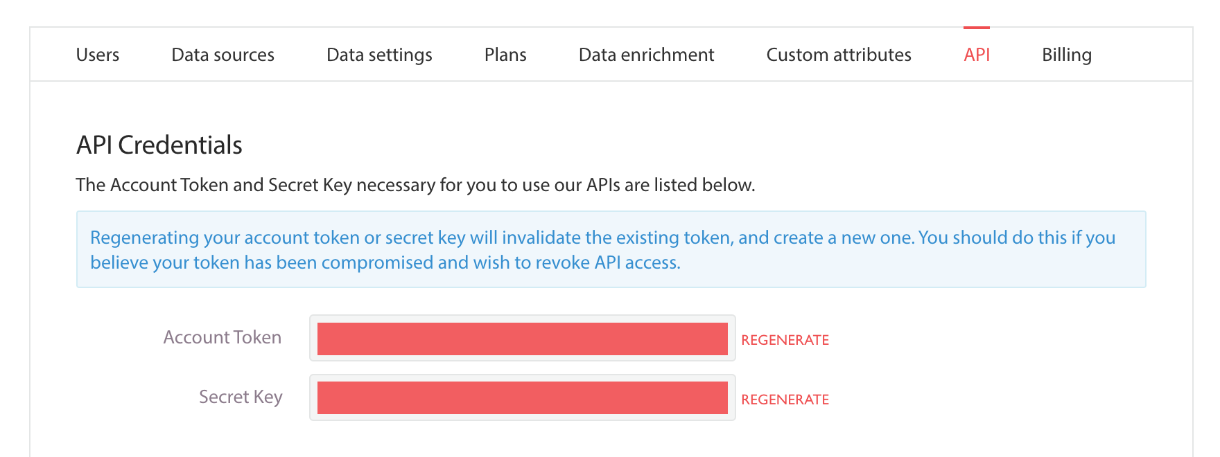 Admin API page