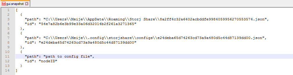 *Figure 4.5. Add a new drive/node by adding the path to the config file and nodeID to the Storj Share GUI snapshot.*