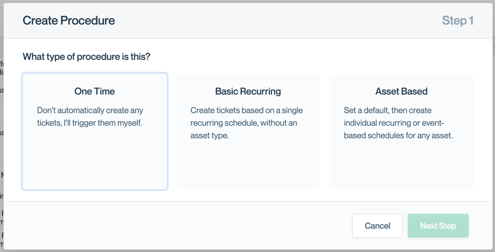"""The three types of procedures.  You can see these by clicking """"Create Procedure"""" on the procedures index."""