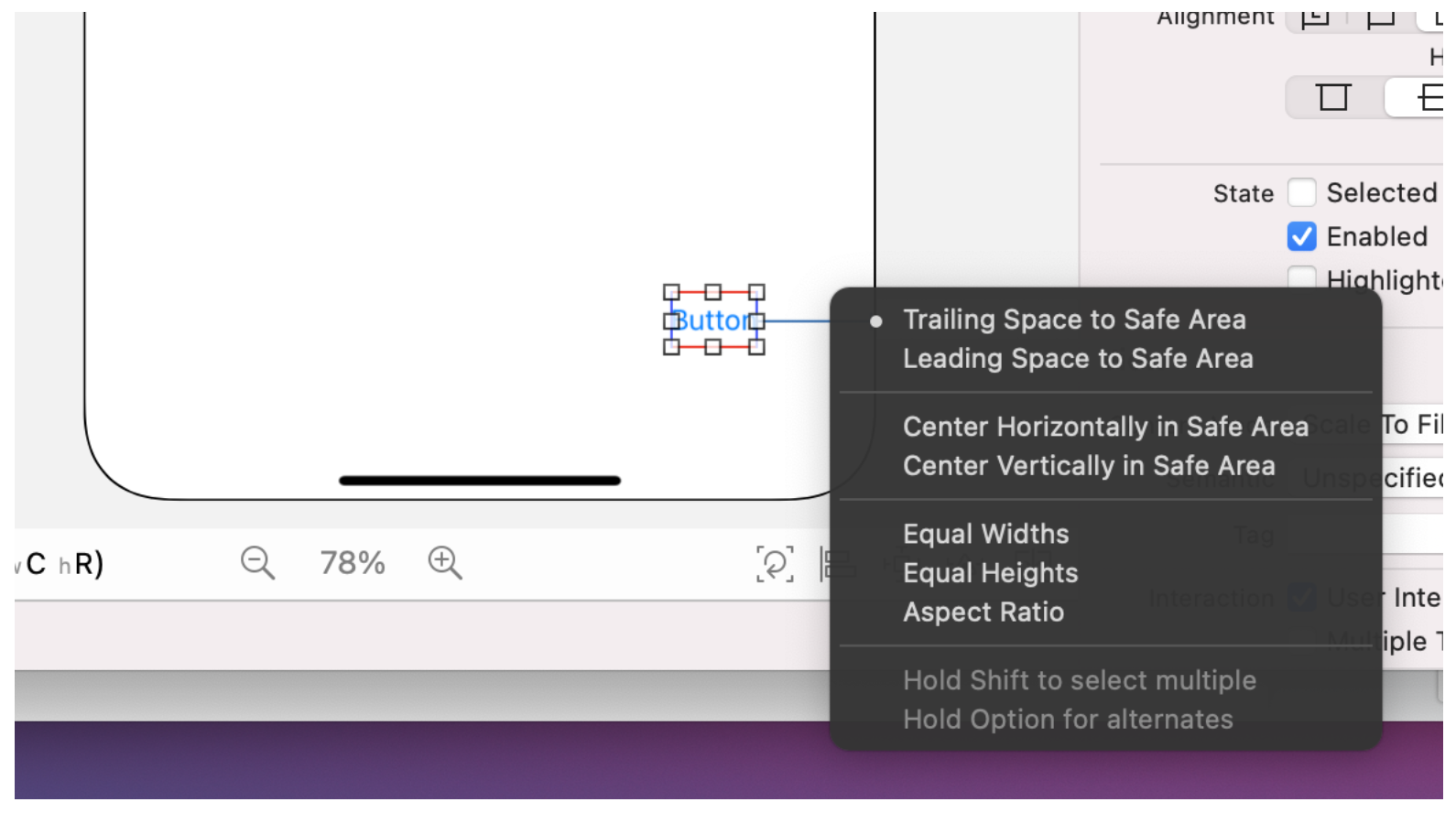 Drag the button to the bottom right of the screen and select **Trailing Space to Safe Area** from the Constraints menu.
