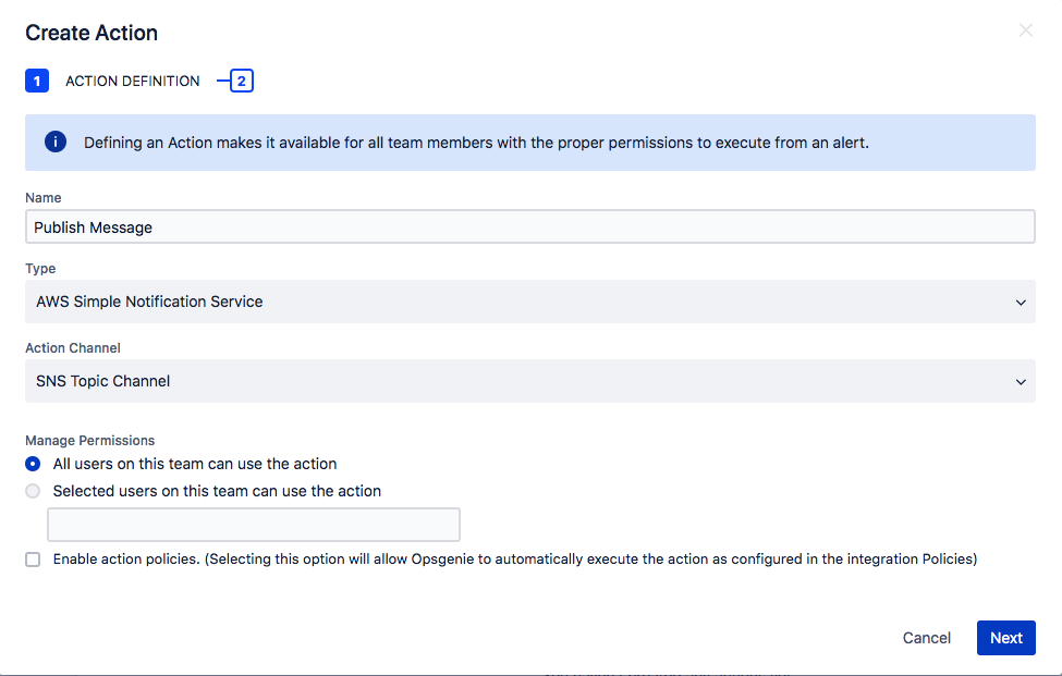 AWS Simple Notification Service Actions