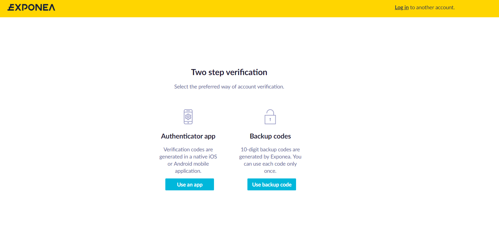 Login page - 2-step verification