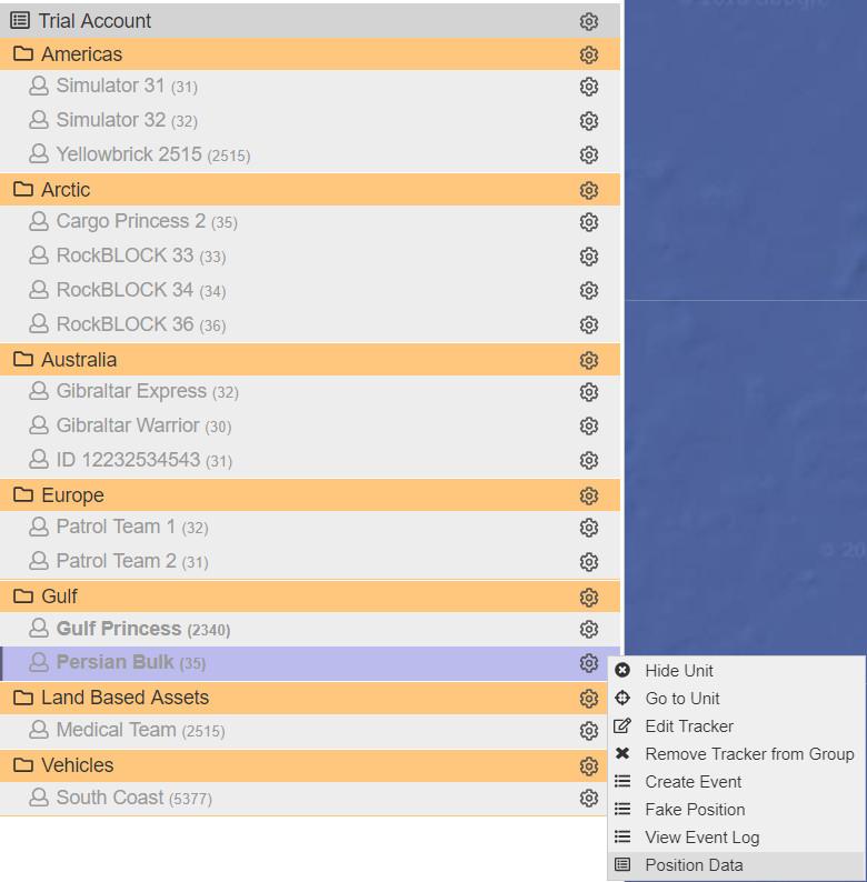 Position Data menu