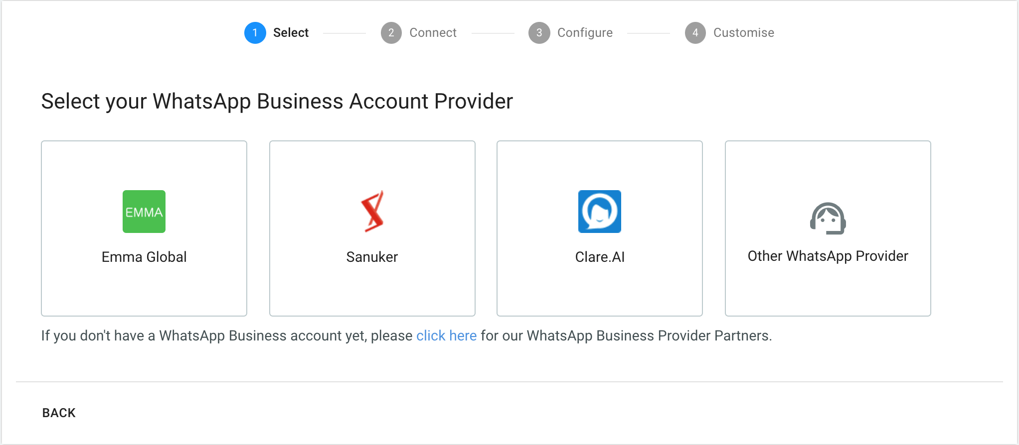 Selecting WhatsApp Provider