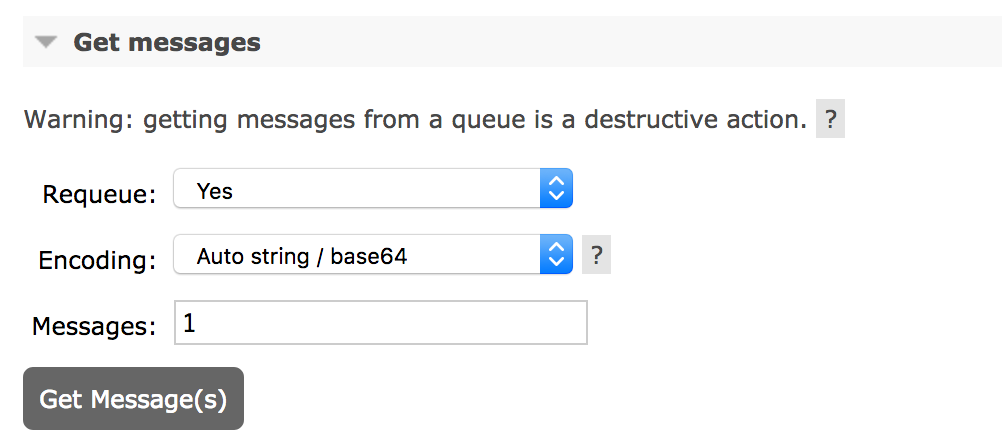 The Get Messages panel before consuming the message.