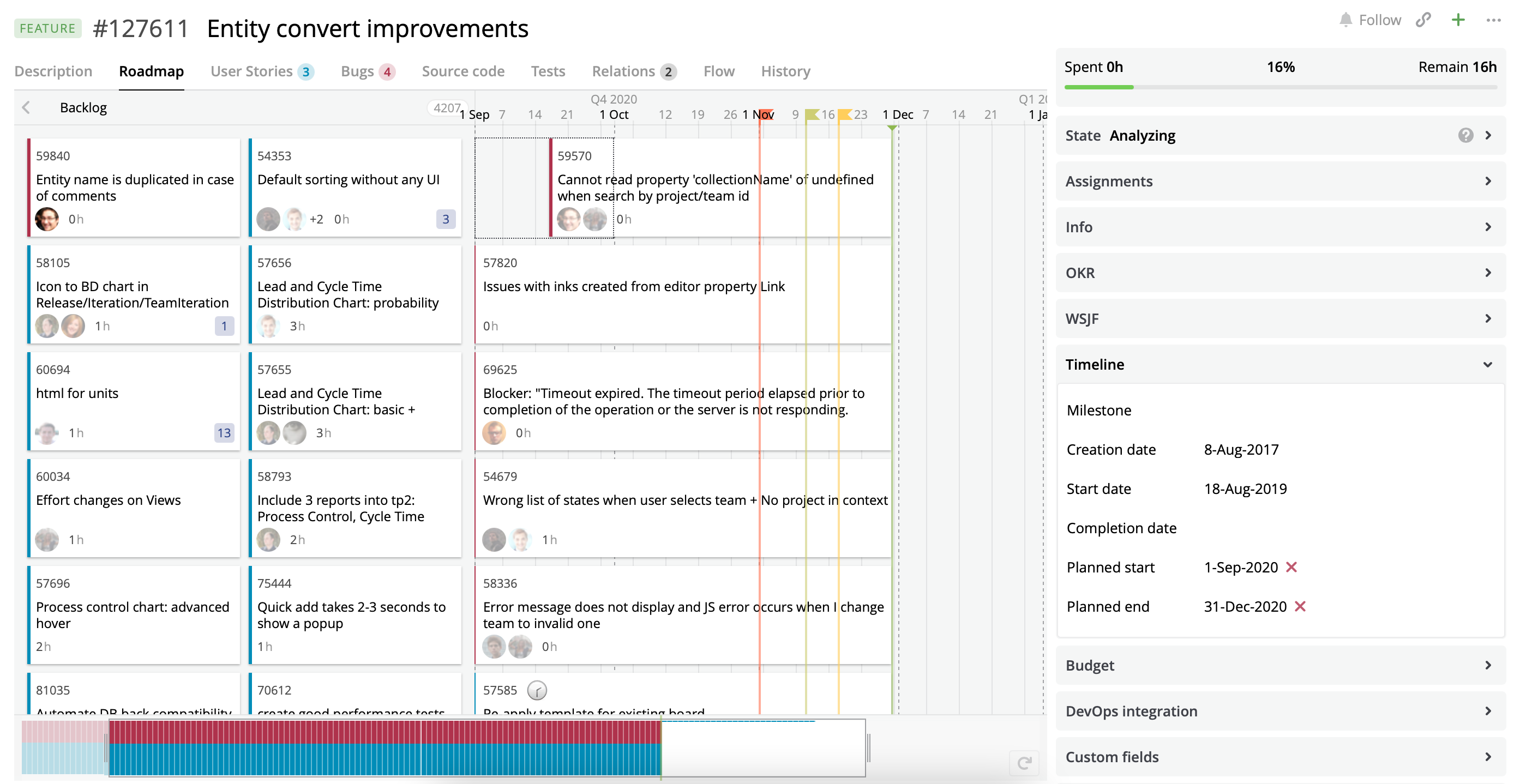 A Roadmap view with User Stories and Bugs assigned to the Project of the current Feature with set Planned dates.