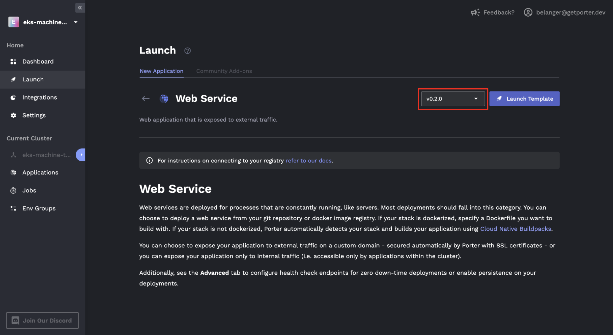 Launch template version