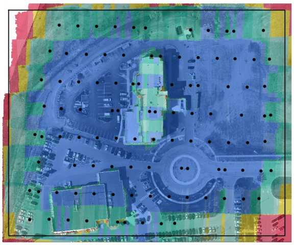 In this map, I would recommend increasing the overlap of the flight, or using our enhanced 3D mode to achieve better overlap on the rooftop of the building. This map can also be cropped to remove any poor stitching from the edges, which we would expect in the red and yellow areas.