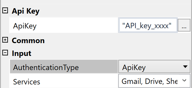 In order to use ApiKey authentication, add your generated key to the **ApiKey** field and switch **AuthenticationType** to ApiKey.