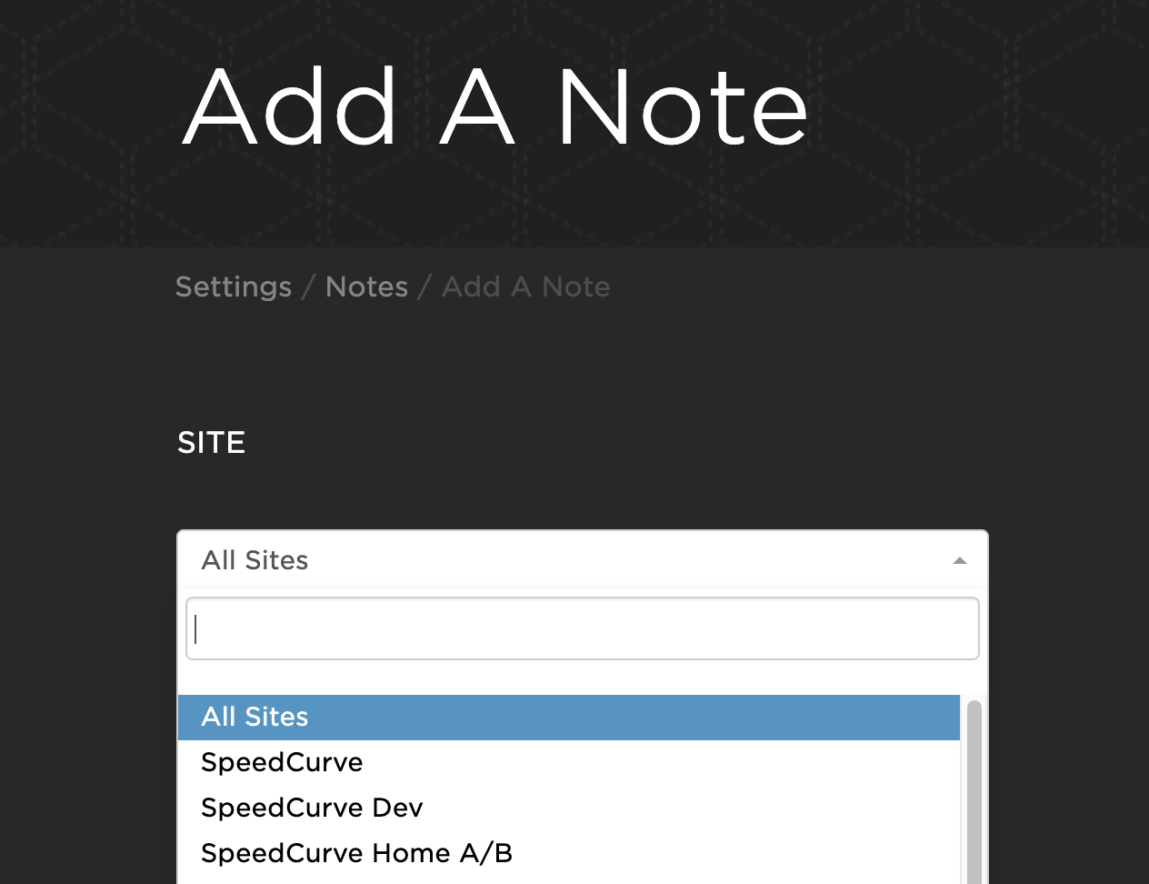 Specifying the site a note is for