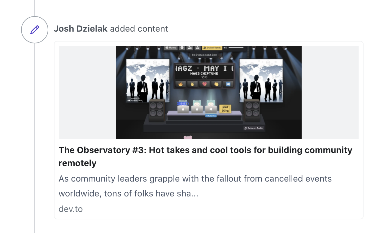 A screenshot showing attached content, here an article posted on dev.to