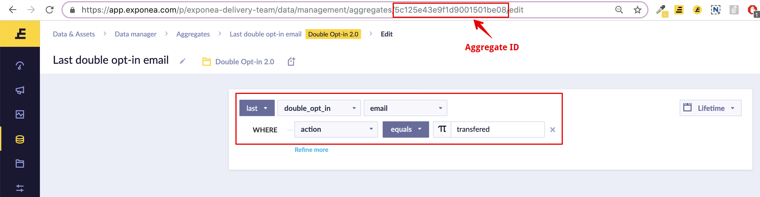 The first aggregate identifies the customer. The ID is located in URL.