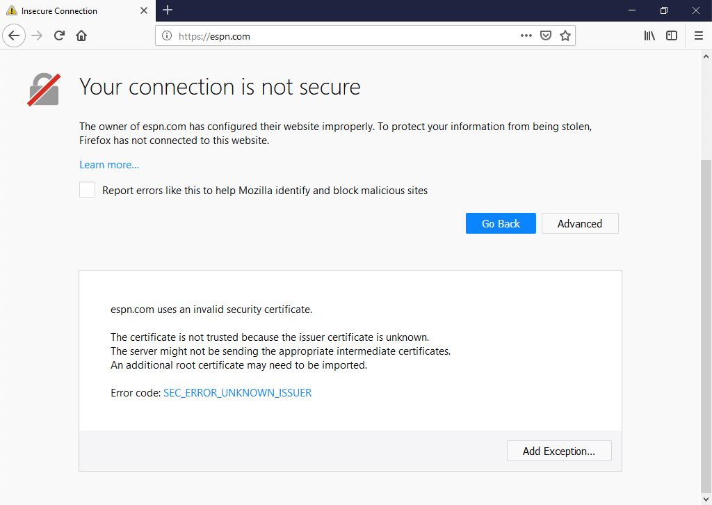 Firefox Browser - HTTPS Error Message