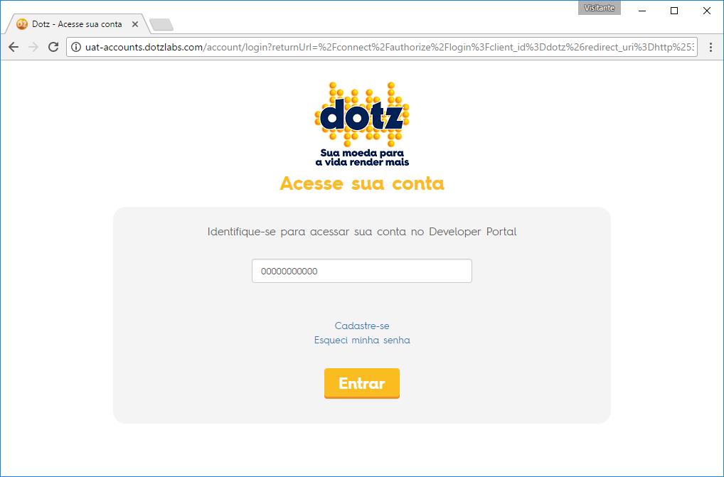 Utilize a mesma credencial do Site Dotz.