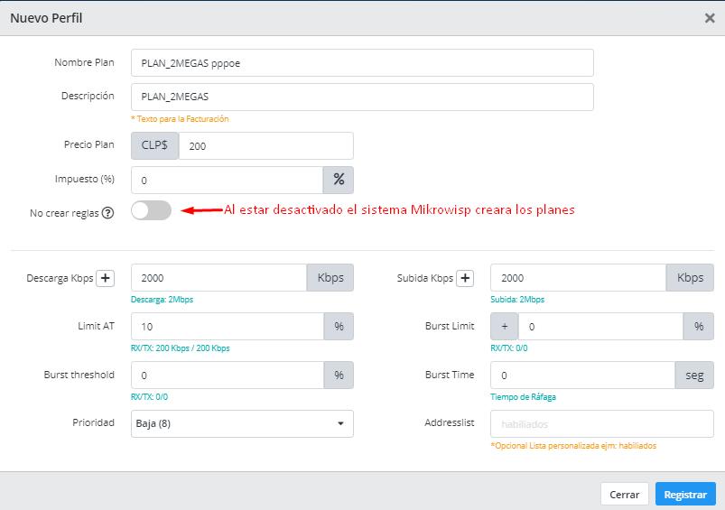 """Al estar desactivado el botón de """"No crear reglas"""" Mikrowisp se encarga de crear los planes en el Mikrotik."""