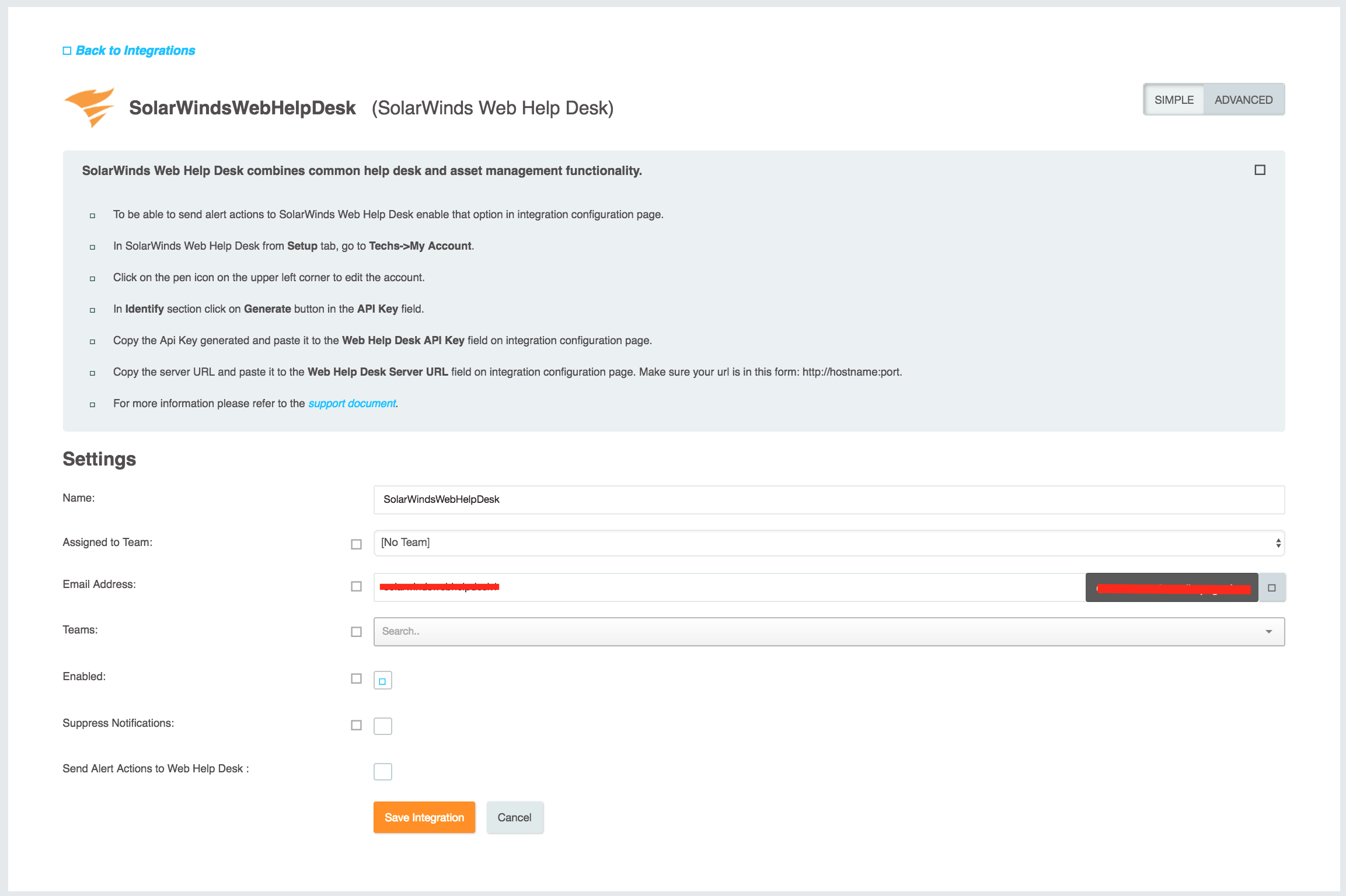Solarwinds Web Help Desk Integration