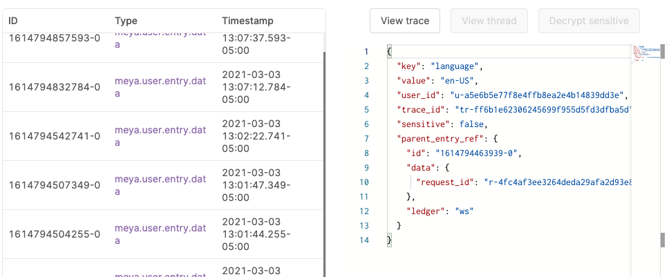 The user's language was saved to the `user` scope.