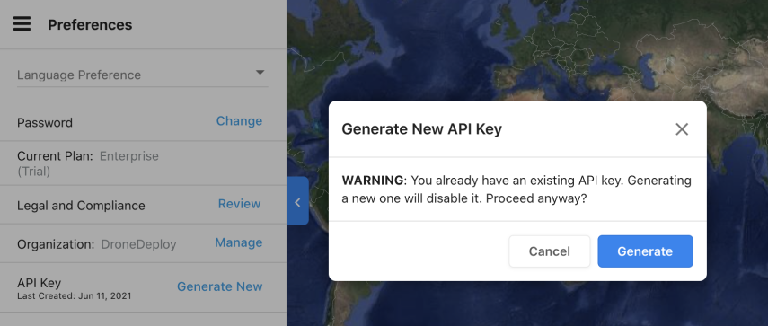If you're willing to void the previous key, select Generate to continue.