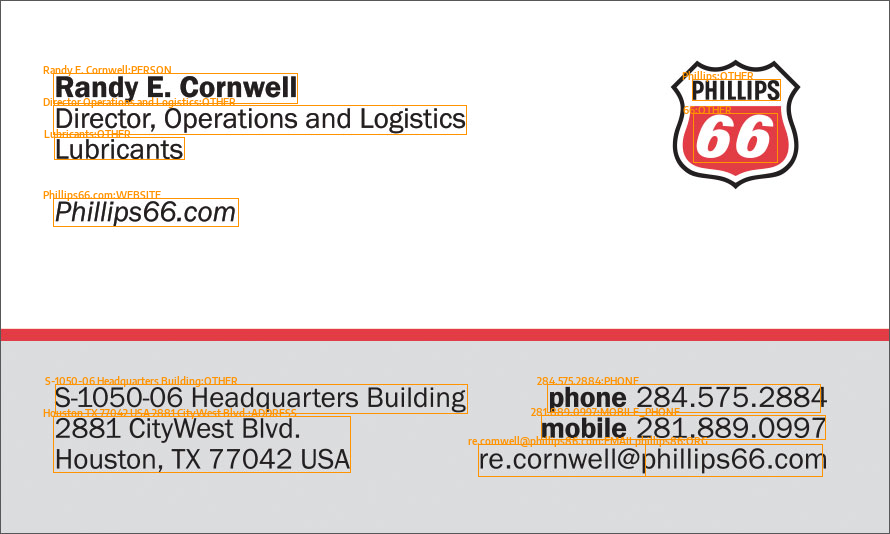 Business Card With OCR Data