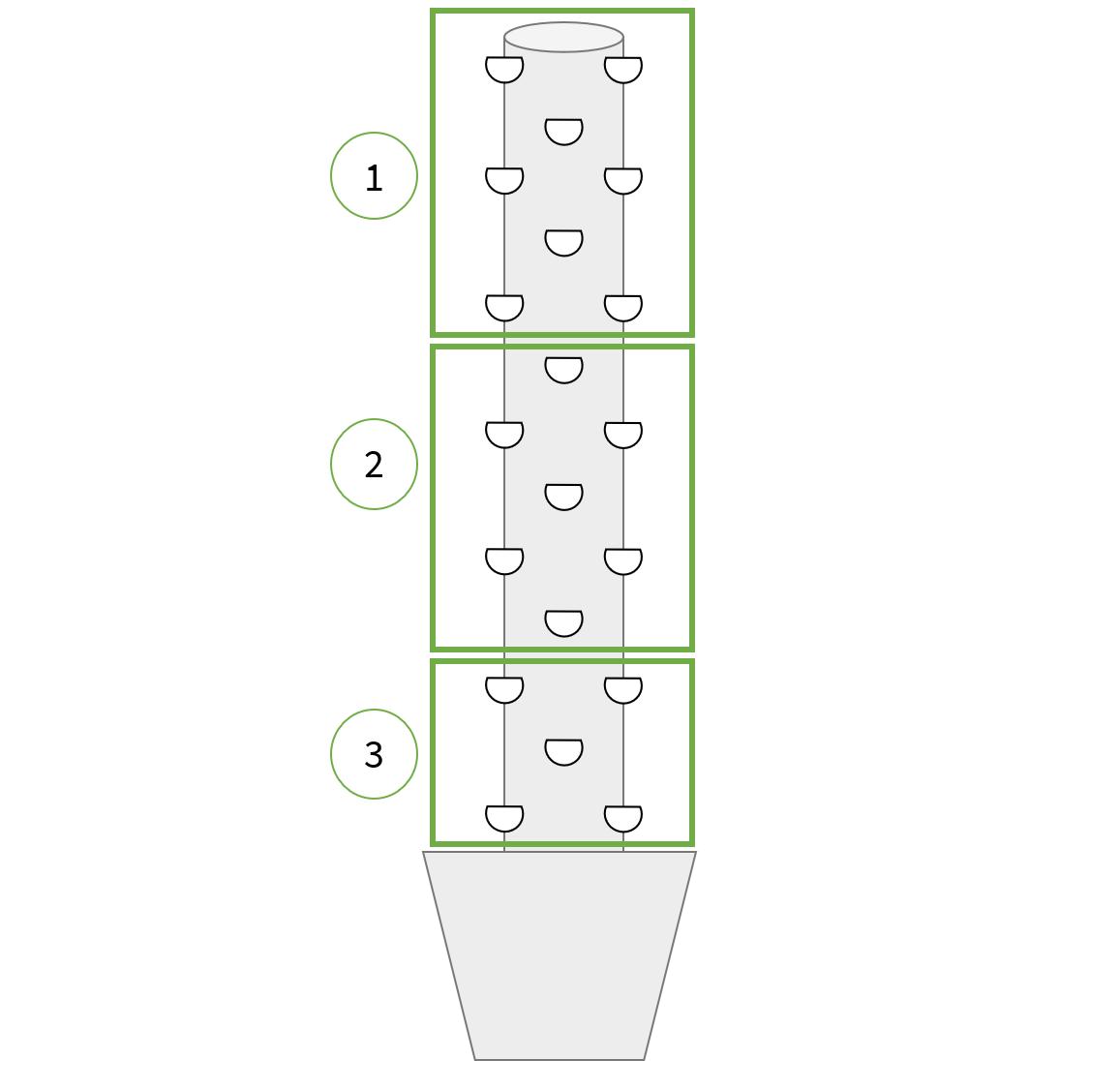 Schéma pyramidal de la répartition des plantes dans l'Aerospring