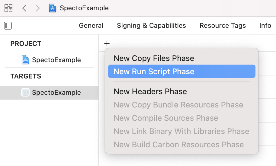 Adding a Run Script build phase in Xcode (step 5)