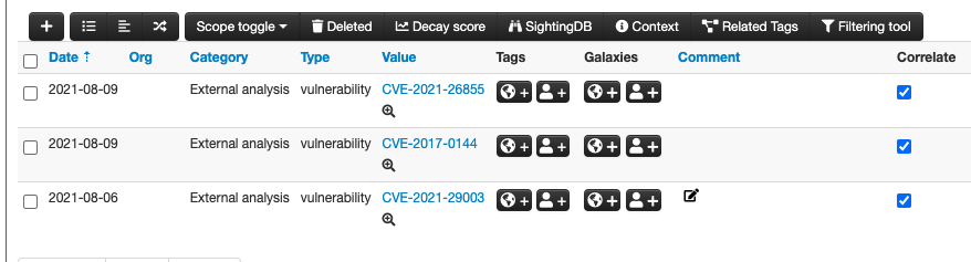 Click the magnifying glass next to the CVE indicator to query the GreyNoise module.