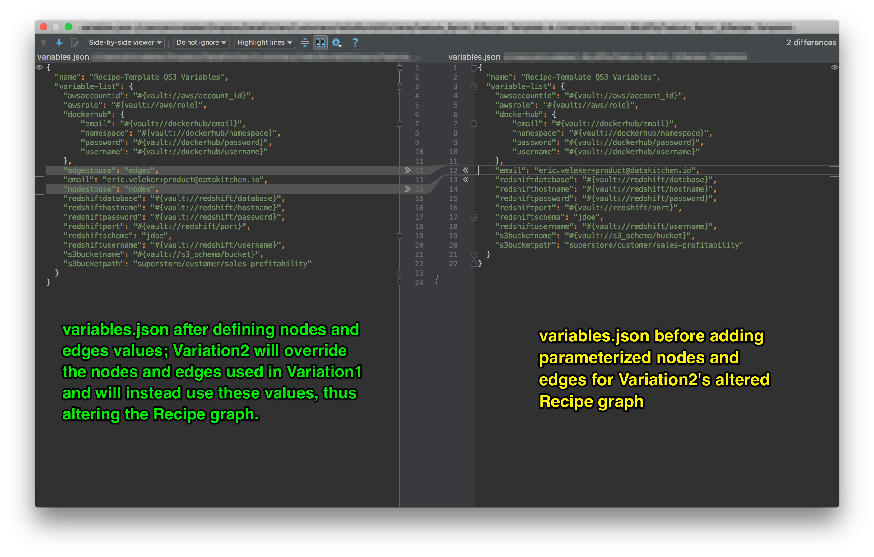 The **variables.json** file before and after the addition of **nodes** and **edges** variables.