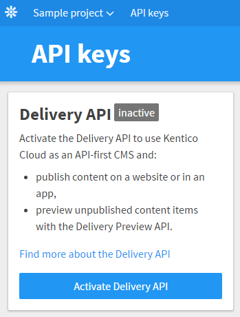 Activating the Delivery API for a project.