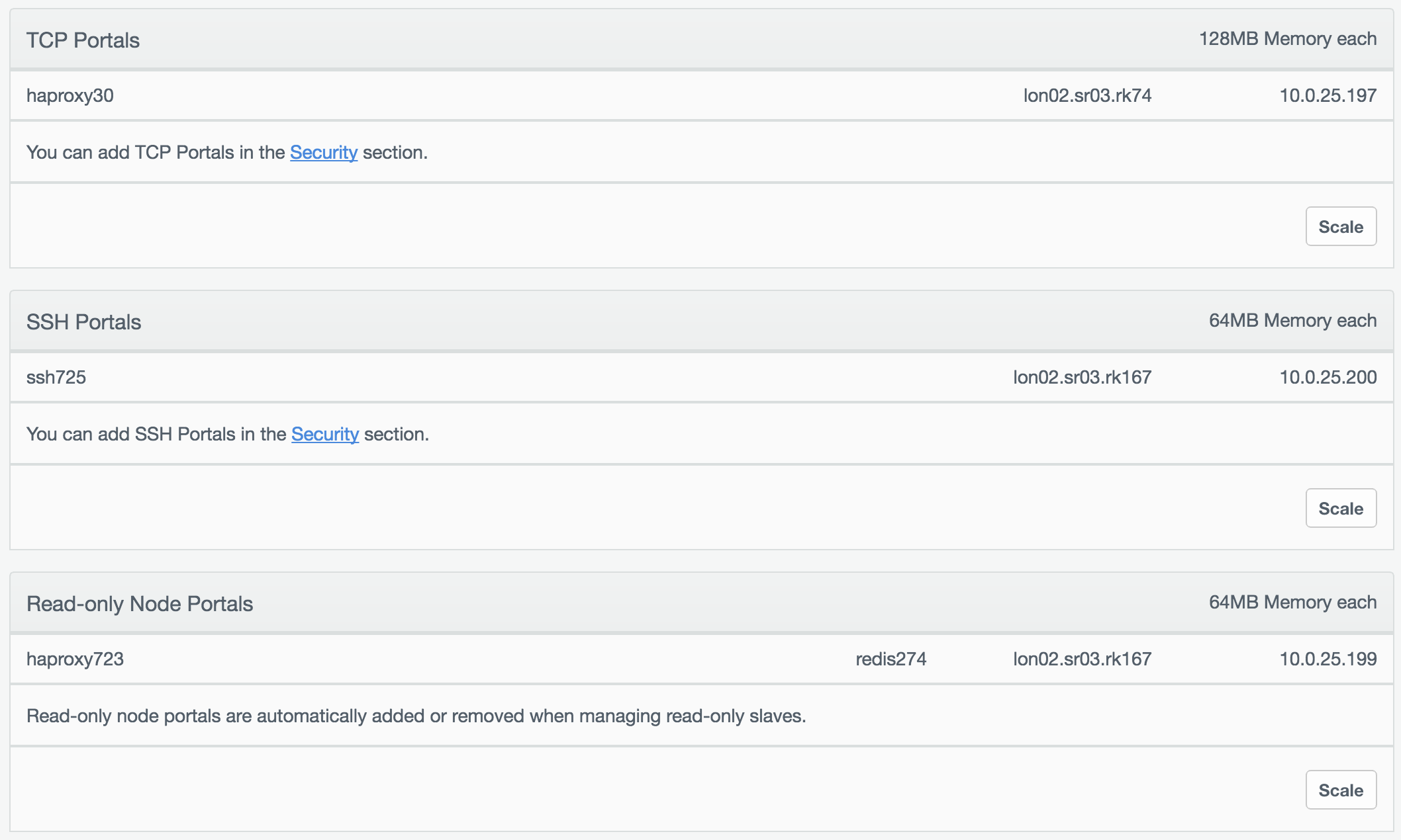 Listing of portals on the _Deployment Resources_ panel.