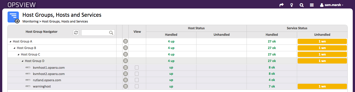 Example 'Navigator' with 4 Host Groups expanded to reveal 4 Hosts