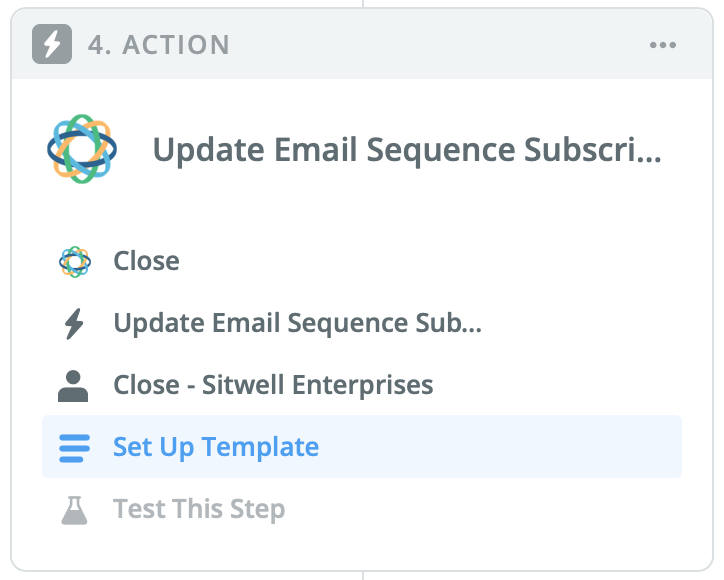 Update Email Sequence Subscription action step in Zapier.