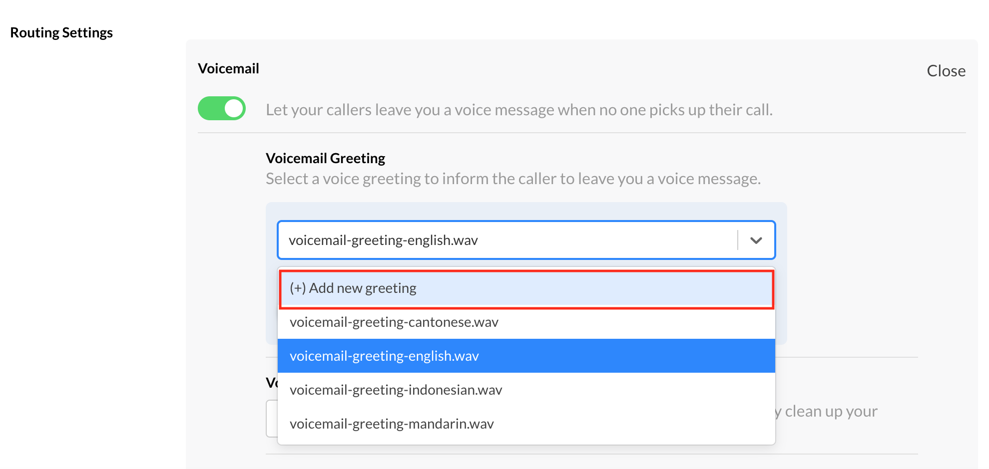 Add New Voicemail Greeting