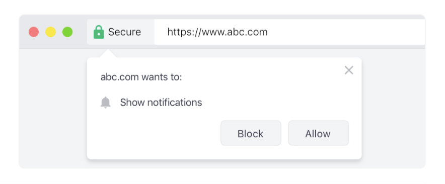 Here's what a 1-step opt-in native browser prompt looks like
