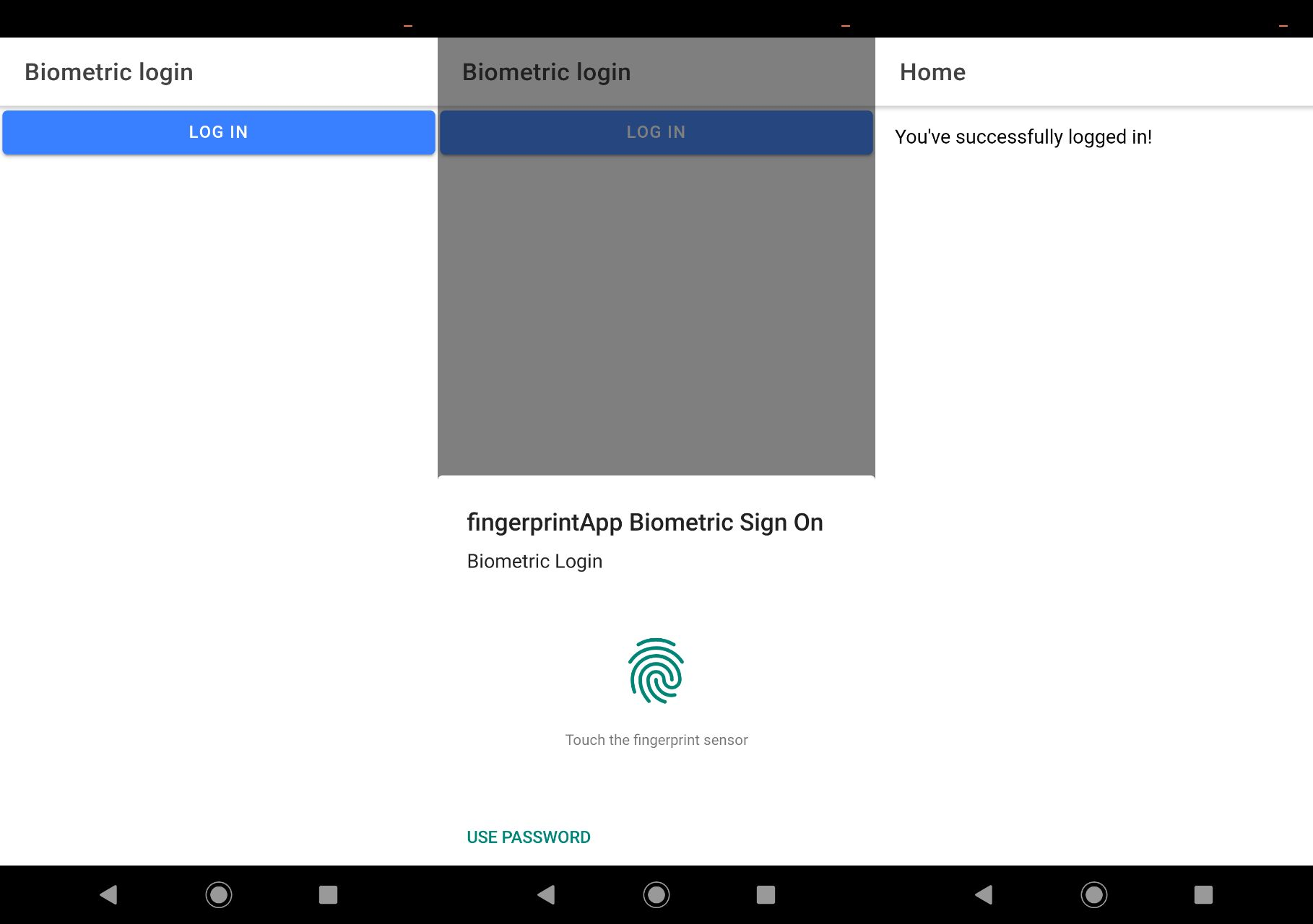 Successful authentication in an Android device