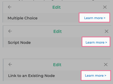 """""""Learn more"""" links for every node type in the bot-builder!"""