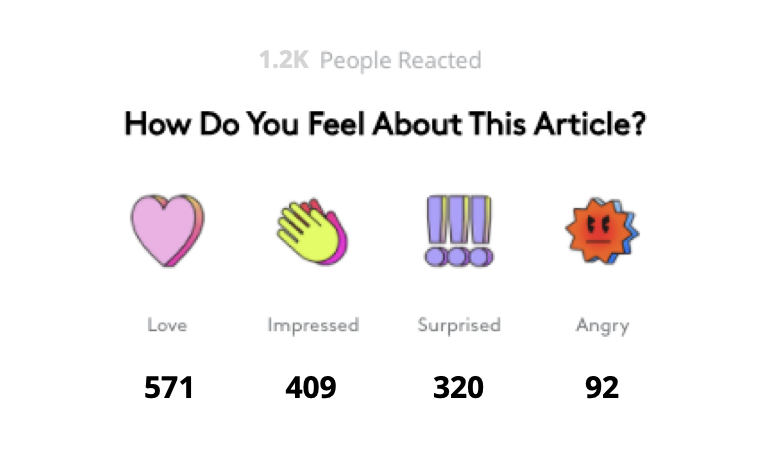 Reactions example on Refinery29