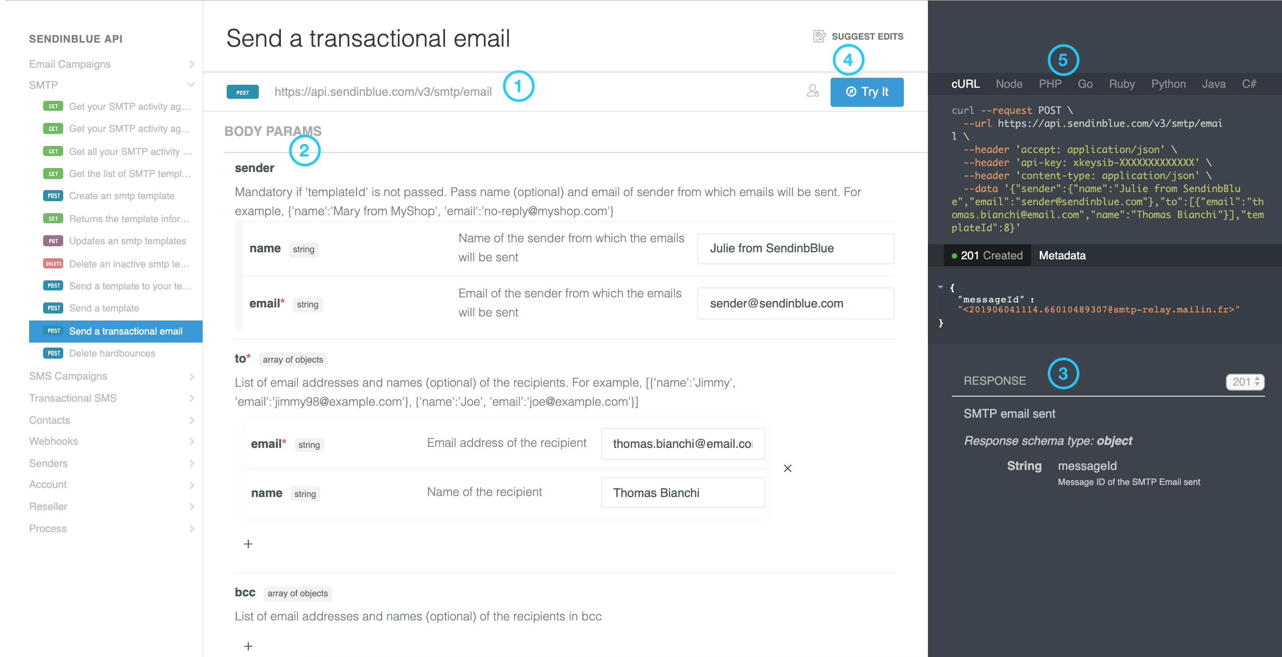 Send transactional email details on Sendinblue API Reference