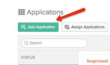 Okta Add Application Screen