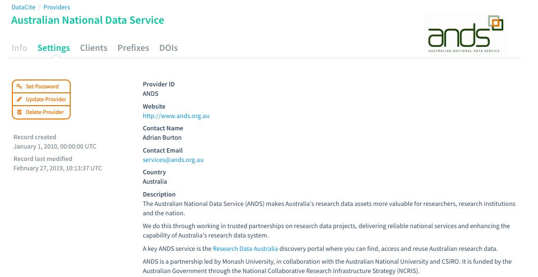 Provider Dashboard: Edit Provider Settings