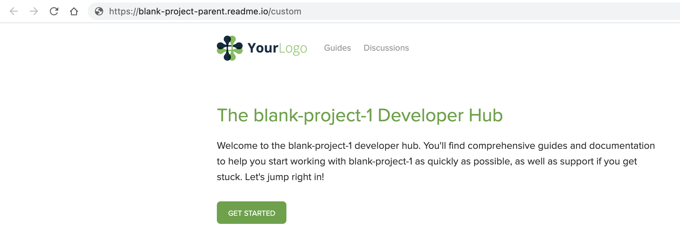 This child project's subdomain is `blank-project-1`, but the URL shows `custom`