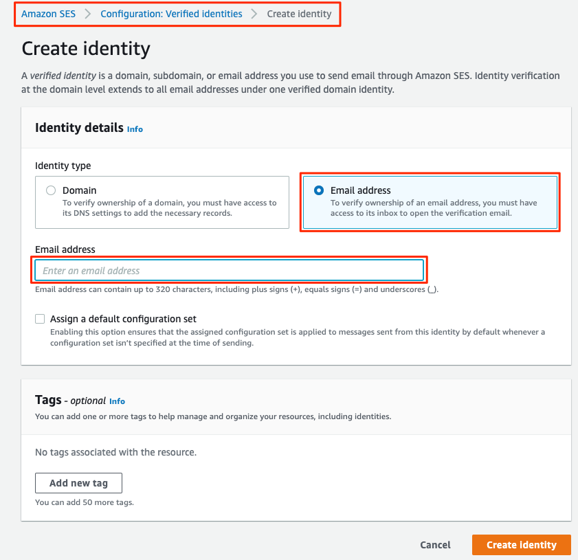 AWS SES console - Create identity