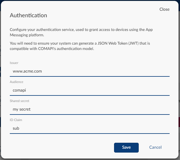 Configuring your JWT details for authentication